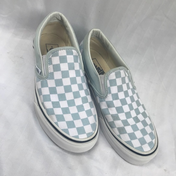 Slipon Light Blue Checkerboard Vans